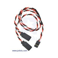 """Twisted Servo Y Splitter Cable 12"""" Female - 2x Male"""